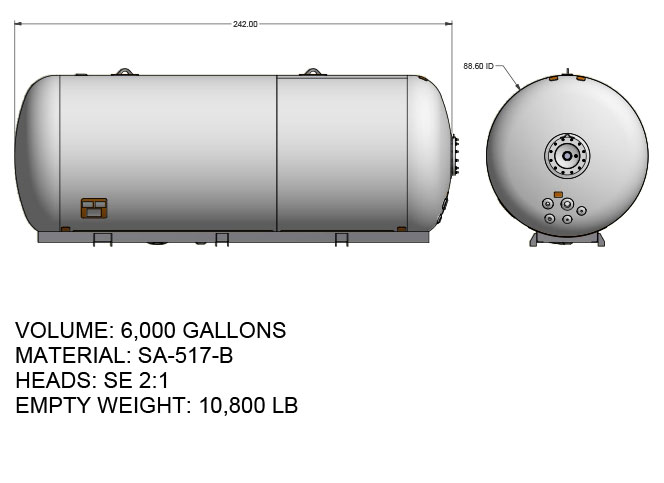 6000 US gallon propane tank hemispherical heads for single axle truck