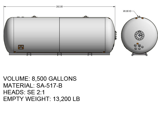 8500 US gallon propane tank hemispherical heads for tri axle truck