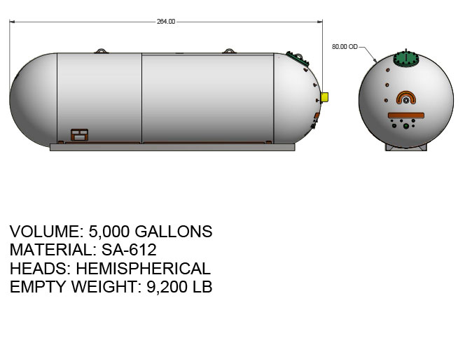 5000 US gallon propane tank hemispherical heads for twin axle truck