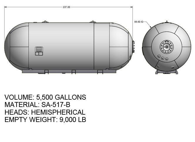 5500 US gallon propane tank hemispherical heads for twin axle truck