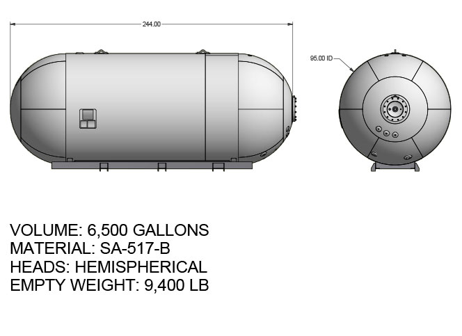 6500 US gallon propane tank hemispherical heads for twin axle truck