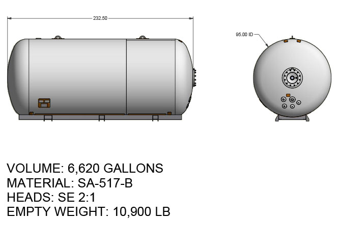 6620 US gallon propane tank hemispherical heads for twin axle truck