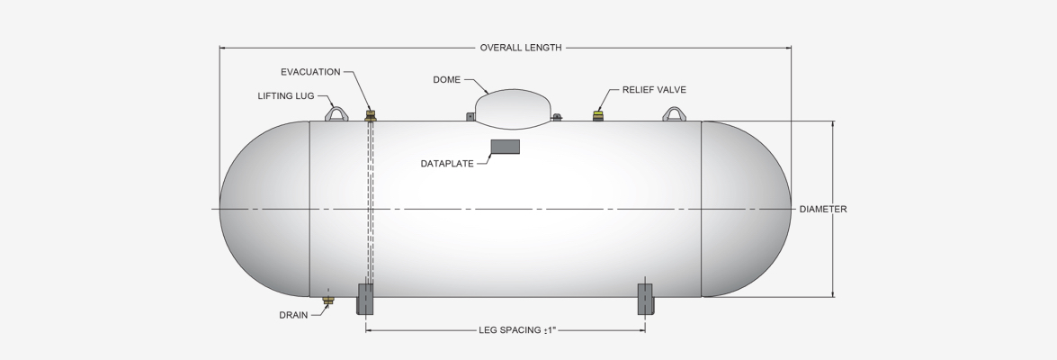 Side view of our aboveground LPG domestic tanks