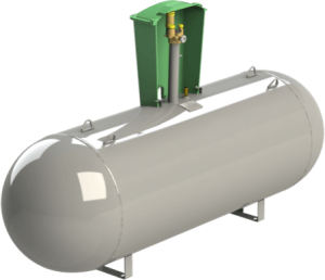 Lateral view of the underground LPG domestic tank